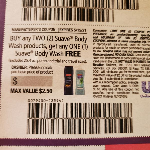 10 Coupons Buy (2) Suave Body Wash Products, Get (1) FREE (Up To $2.50) Exp.5/15/21