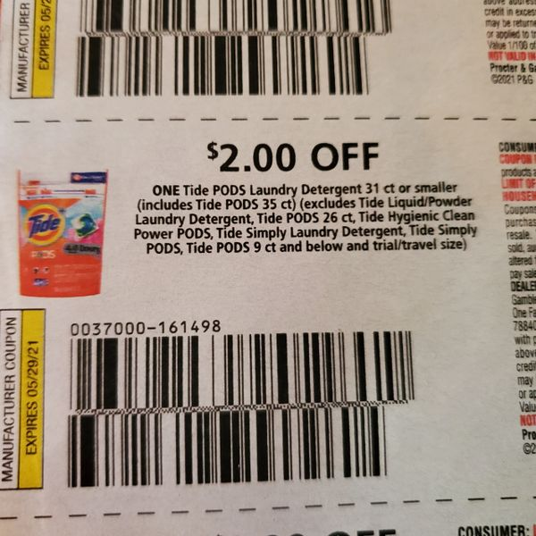 10 Coupons $2/1 Tide Pods Laundry Detergent 31ct or Smaller (Includes Tide Pods 35ct Exp.5/29/21