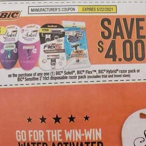 10 Coupons $4/1 Bic Soleil, Bic Flex, Bic Hybrid Razor Pack or Bic Sensitive 2 10ct Disposable Razor Pack Exp.5/22/21