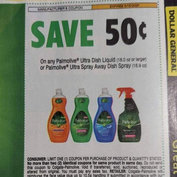 10 Coupons $.50/1 Palmolive Ultra Dish Liquid (18oz+) Or Palmolive Ultra Spray Away Dish Spray (16.9oz) Exp.5/15
