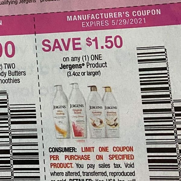 10 Coupons $1.50/1 Jergens Product (3.4oz+) Exp.5/29/21