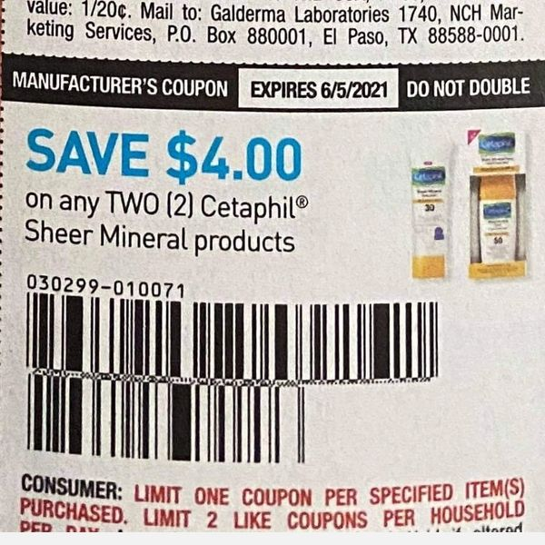 10 Coupons $4/2 Cetaphil Sheer Mineral Product Exp.6/5/21