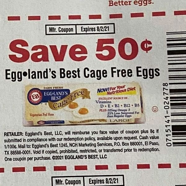 10 Coupons $.50/1 Eggland's Best Cage Free Eggs Exp.8/2/21