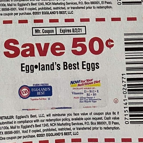 10 Coupons $.50/1 Eggland's Best Eggs Exp.8/2/21