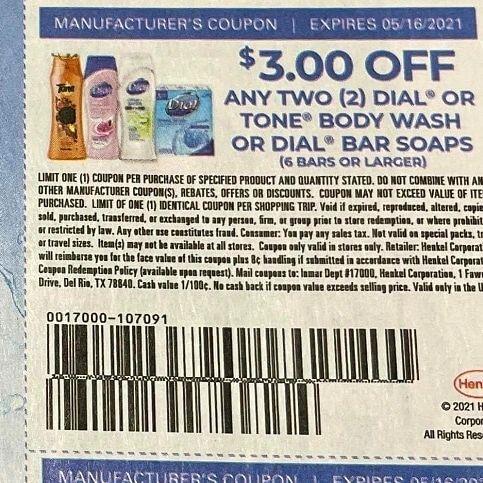 10 Coupons $3/2 Dia2l or Tone Body Wash or Dial Bar Soaps (6 Bar+) Exp.5/16/1