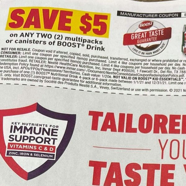 10 Coupons $5/2 Boost Canisters or Multipacks Exp.6/27/21