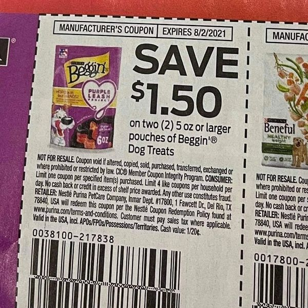 10 Coupons $1.50/2 Beggin Dog Treats 5oz Pouches Exp.8/2/21