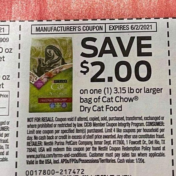 10 Coupons $2/1 Cat Chow Dry Cat Food 3.15lb+ Exp.6/2/21