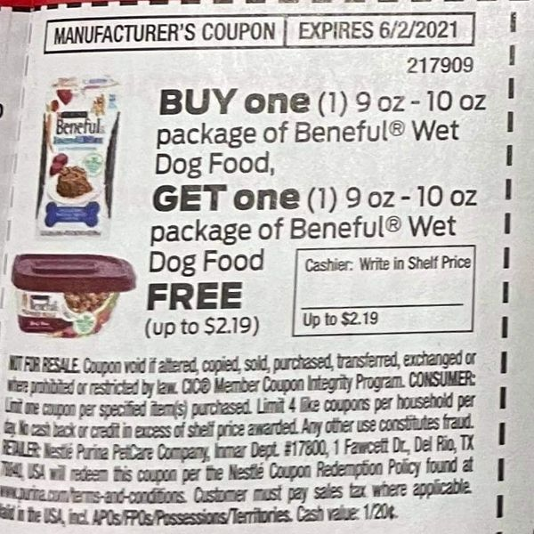 10 Coupons BOGO Beneful Wet Dog Food 9oz-10z Package (Up To $2.19) Exp.6/2/21 (Ships 5/4) Exp.6/2/21