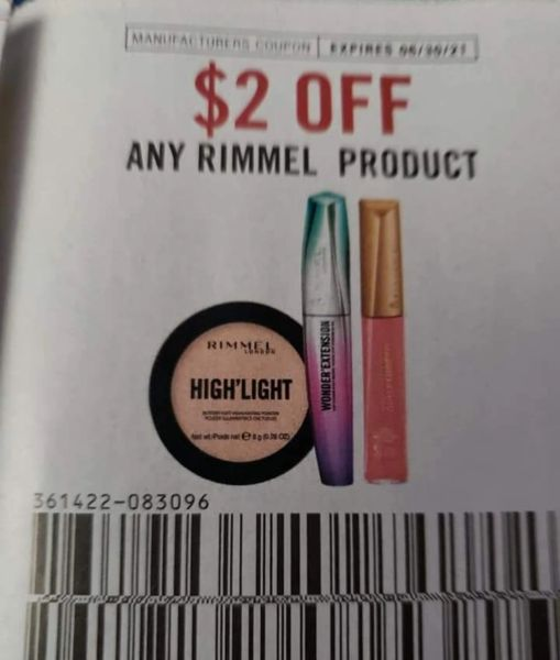 10 Coupons $2/1 Rimmel Product Exp.6/30/21