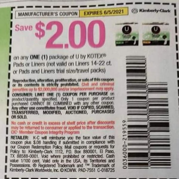 10 Coupons $2/1 U By Kotex Pads or Liners (Excludes Liners 14-22ct or Pads and Liners Trial) Exp.6/5/21