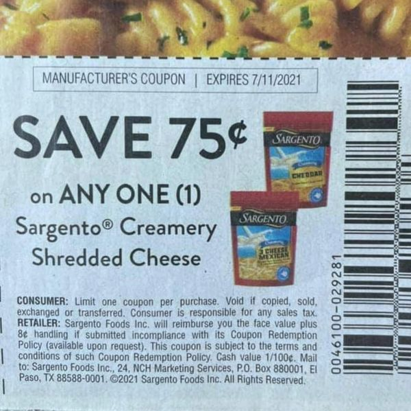 10 Coupons $.75/1 Sargento Creamery Shredded Cheese Exp.7/11/21