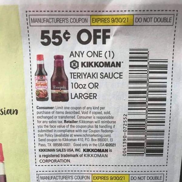 10 Coupons $.55/1 Kikkoman Teriyaki Sauce 10oz+ Exp.9/30/21)