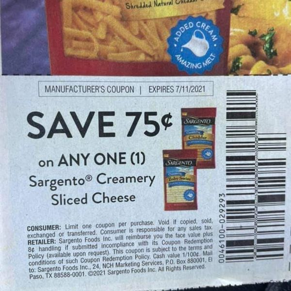 10 Coupons $.75/1 Sargento Creamery Sliced Cheese Exp.7/11/21