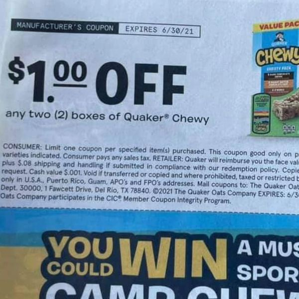 10 Coupons $1/2 Quaker Chewy Exp.6/30/21