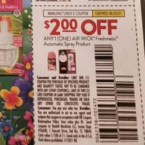 10 Coupons $2/1 Air Wick Freshmatic Automatic Spray Product Exp.6/25/21