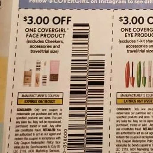 10 Coupons $3/1 Covergirl Face Product Exp.6/19/21