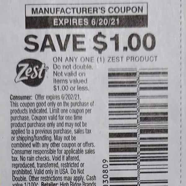 10 Coupons $1/1 Zest Product Exp.6/20/21
