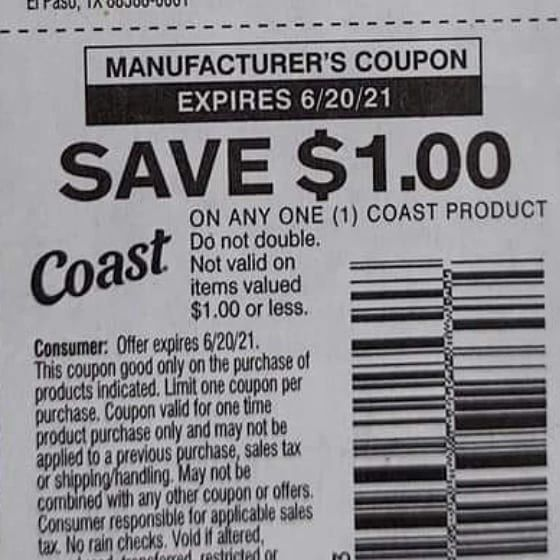 10 Coupons $1/1 Coast Product Exp.6/20/21