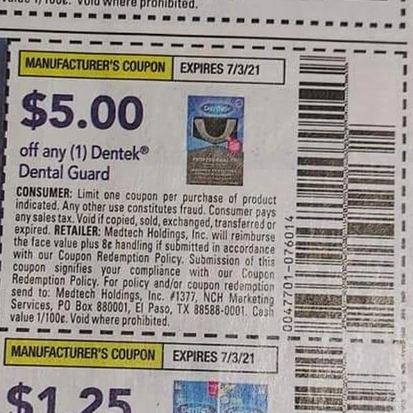 10 Coupons $5.00/1 Dentek Dental Guard Exp.7/3/21