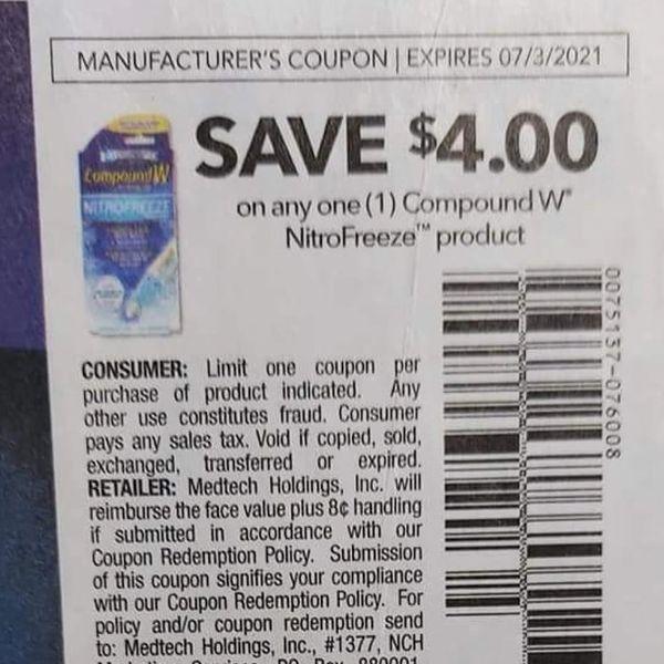 10 Coupons $4/1 Compound W NitroFreeze Product Exp.7/3/21