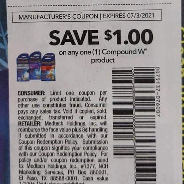 10 Coupons $1/1 CompoundW Product Exp.7/3/21 (l