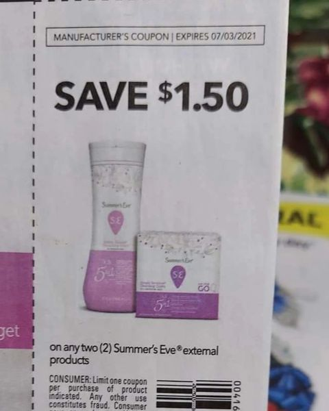 10 Coupons $1.50/2 Summer's Eve External Products Exp.7/3/21