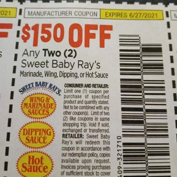 10 Coupons $1.50/2 Sweet Baby Ray's Marinade, Wing, Dipping or Hot Sauce Exp.6/27/21