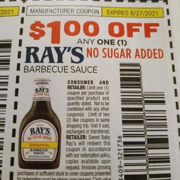 10 Coupons $1/1 Ray's No Sugar Added Barbecue Sauce Exp.6/27/21