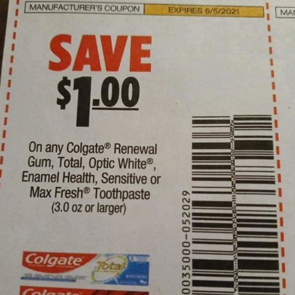 10 Coupons $1/1 Colgate Renewal Gum, Total, Optic White, Enamel Health, Sensitive or Max Fresh Toothpaste (3oz+) Exp.6/5/21