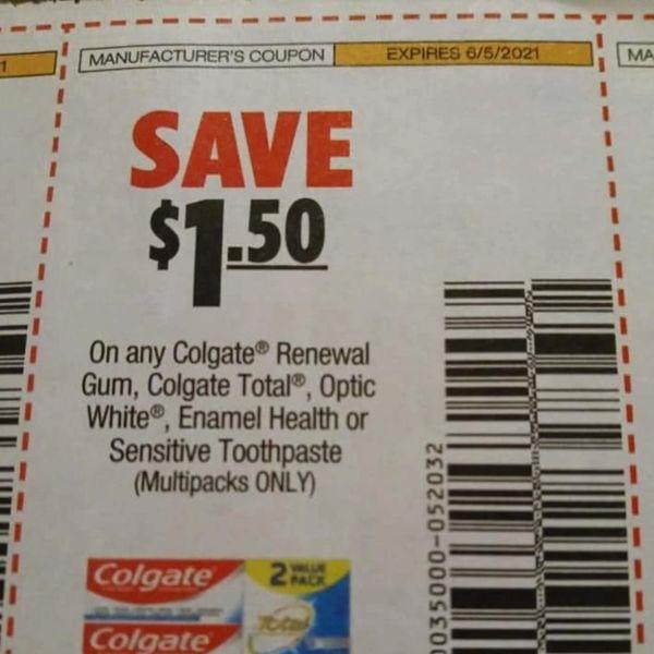 10 Coupons $1.50/1 Colgate Renewal Gum, Total, Optic White, Enamel Health, or Sensitive Toothpaste (Multipacks) Exp.6/5/21