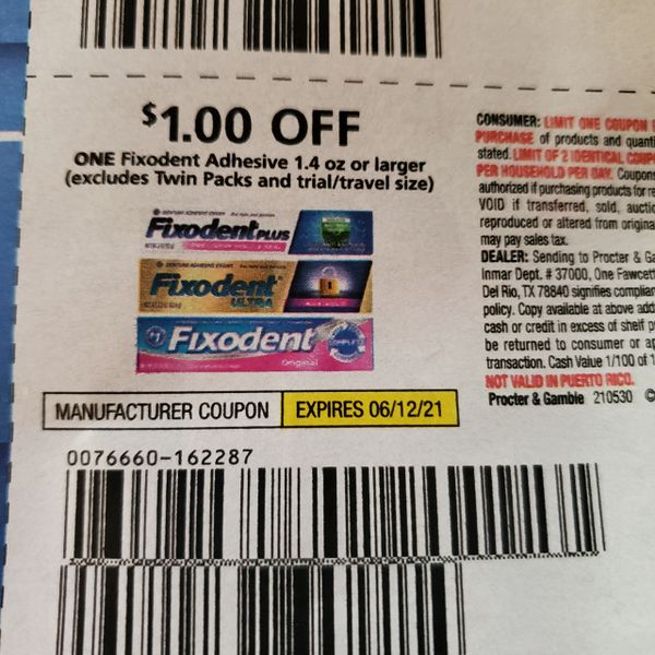 10 Coupons $1/1 Fixodent Adhesive 1.4oz+ Exp.6/12/21