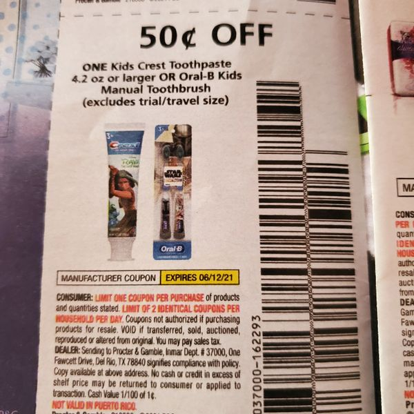 10 Coupons $.50/1 Kids Crest Toothpaste 4.2oz+ or Oral-B Kids Manual Toothbrush Ex0.6/12/21
