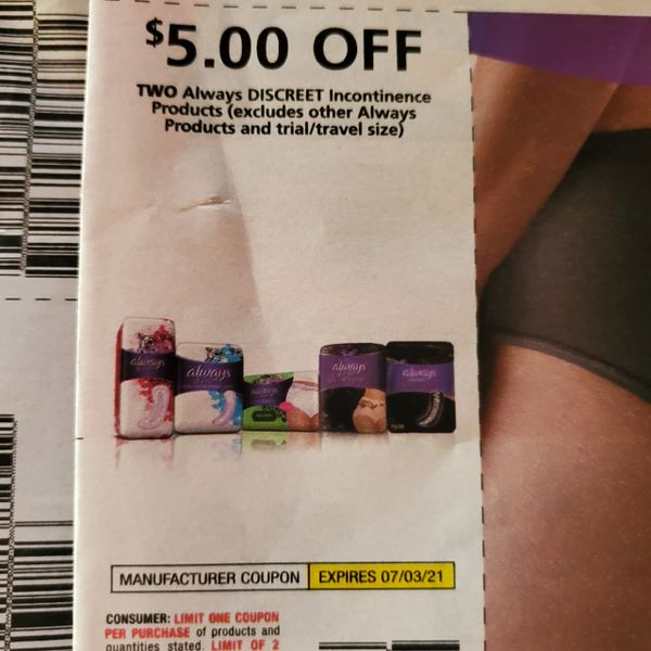 10 Coupons $5/2 Always Discreet Incontinence Products Exp.7/3/21