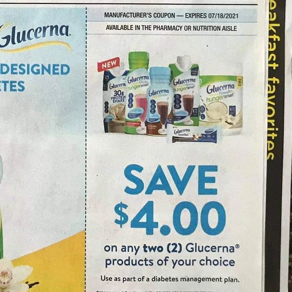10 Coupons $4/2 Glucerna Products Exp.7/18/21