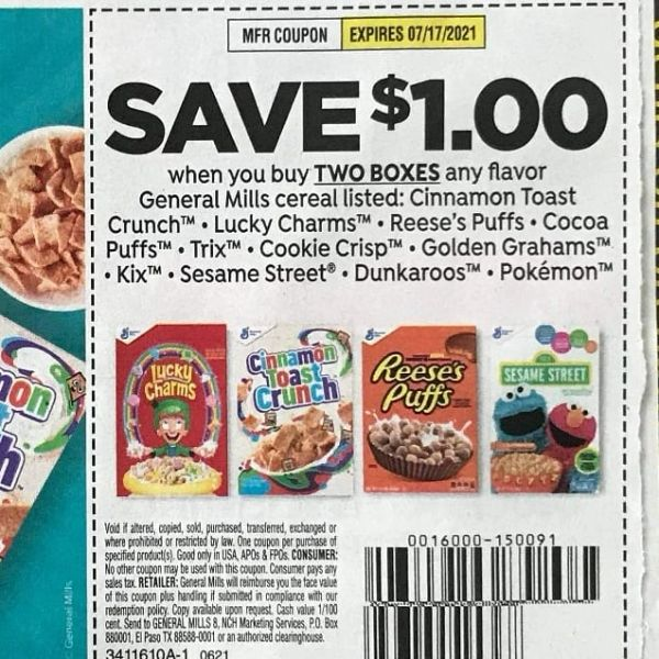 10 coupons $1/2 General Mills Cereals: Cinnamon Toast Crunch, Lucky Charms, Reese's Puffs, Cocoa Puffs, Trix, Cookie Crisp, Golden Grahams, Kix, Sesame Street, Dunkaroos, Pokemon Exp.7/17/21