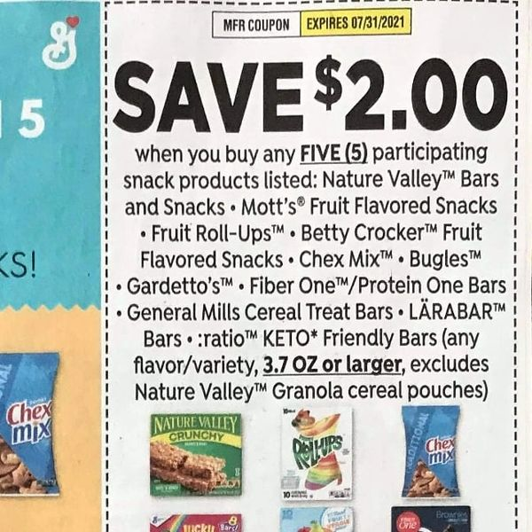 10 Coupons $2/5 Nature Valley Bars and Snacks, Mott's Fruit Flavored Snacks, Fruit Roll-Ups Betty Crocker Fruit Flavored Snacks, Chex Mix, Bugles, Gardetto's, Fiber One/Protein One Bars, General Mills Cereal Treat Bars, 3.7oz+Exp.7/31/21
