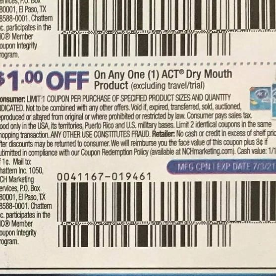 10 Coupons $1/1 Act Dry Mouth Product Exp.7/3/21