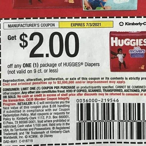 10 Coupons $2/1 Huggies Diapers (Not Valid on 9ct or Less) Exp.7/3/21