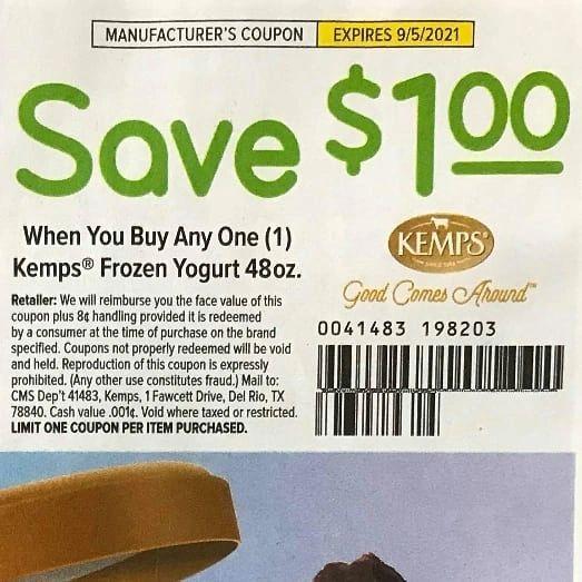 10 coupons $1/1 Kemps Frozen Yogurt 48oz Exp9/5/21