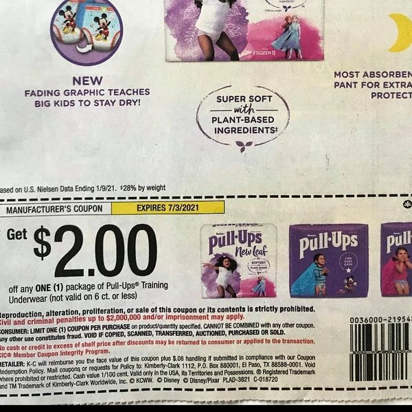 10 Coupons $2/1 Pull-ups Training Underwear (Not Valid on 6ct or Less) Exp.7/3/21