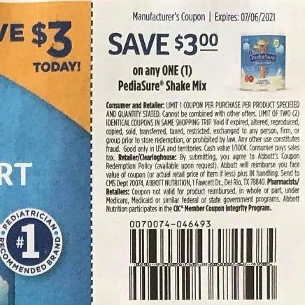 10 coupons $3/1 Pediasure Shake Mix Exp.7/6/21
