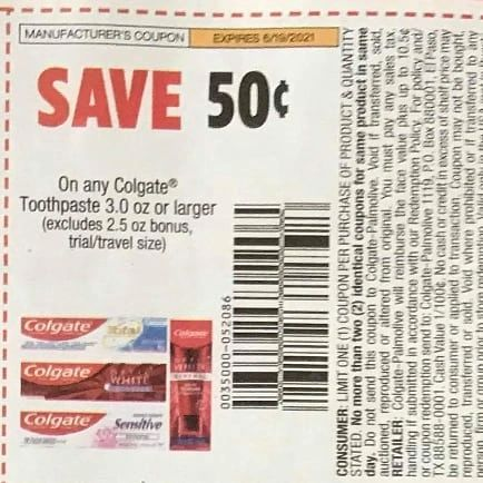 10 Coupons $.50/1 Colgate Toothpaste 3.0oz+ Exp.6/19/21