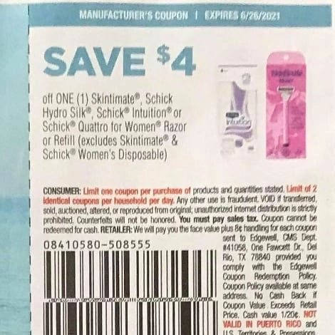 10 Coupons $4/1 Skintimate, Schick Hydro Silk, Schick intuition or Schick Quattro for Women Razor or Refill (Excludes Skintimate & Schick Women's Disposable) Exp.6/26/21