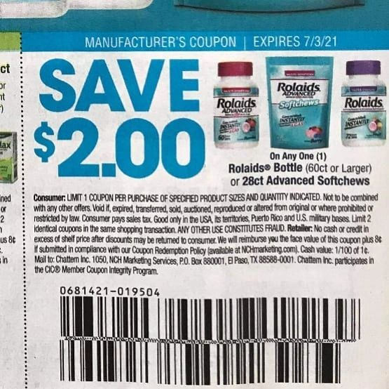 10 Coupons $2/1 Rolaids Bottle (60ct+) or 28ct Advanced Softchews Exp.7/3/21