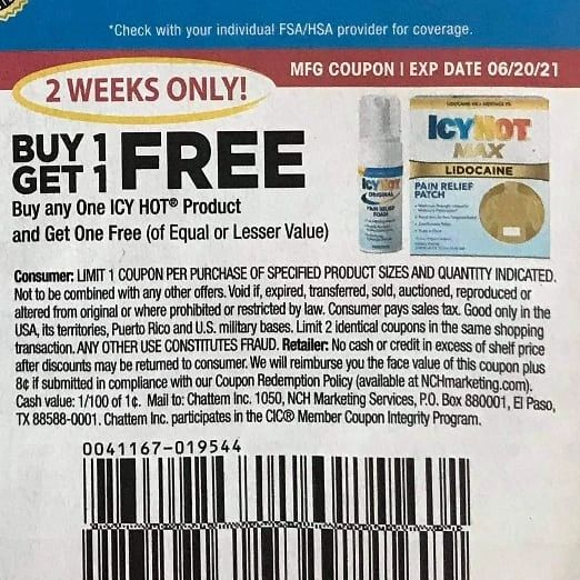 10 Coupons BOGO Icy Hot Product Exp.6/20/21