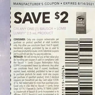 10 Coupons $2/1 Bausch + Lomb Lumify 2.5mL Product Exp.8/14/21