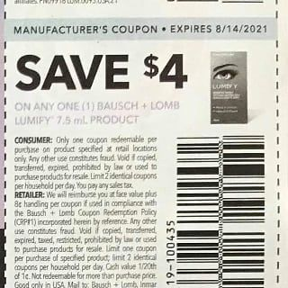 10 Coupons $4/1 Bausch + Lomb Lumify 7.5mL Product Exp.8/14/21