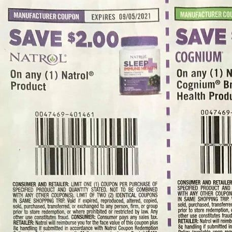 10 Coupons $2/1 Natrol Product Exp.8/5/21
