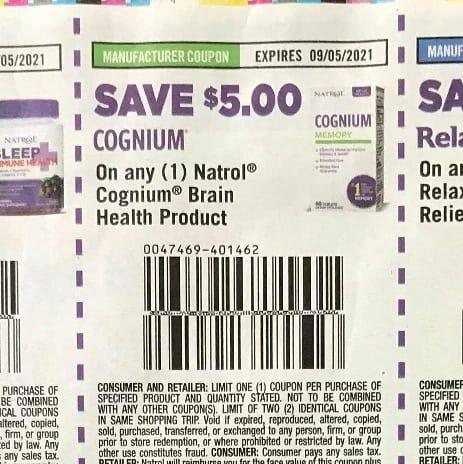 10 Coupons $5/1 Natrol Cognium Brain Health Product Exp.9/5/21